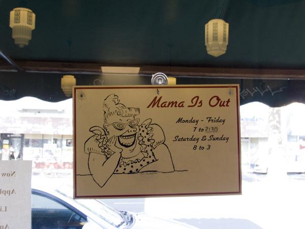sign at mama's royal cafe