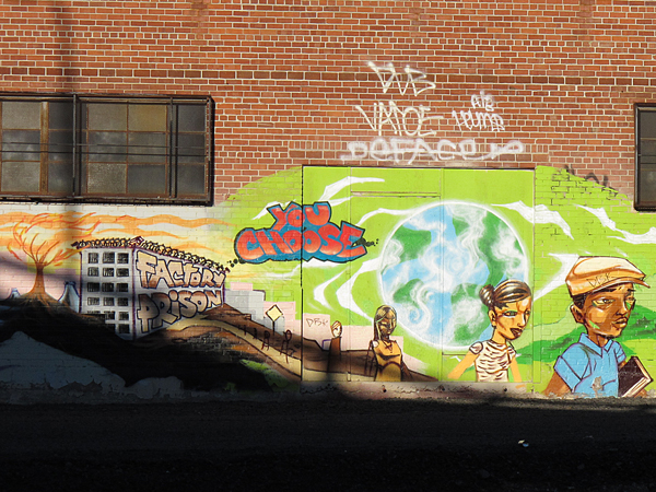 Graf by the tracks, Prison Factories, You choose, Oakland Rejuvenation Project