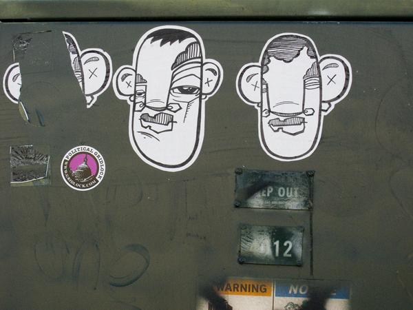 Dead Eyes Stickers, Crude stickers, West Oakland Sticker art, west oakland graffiti
