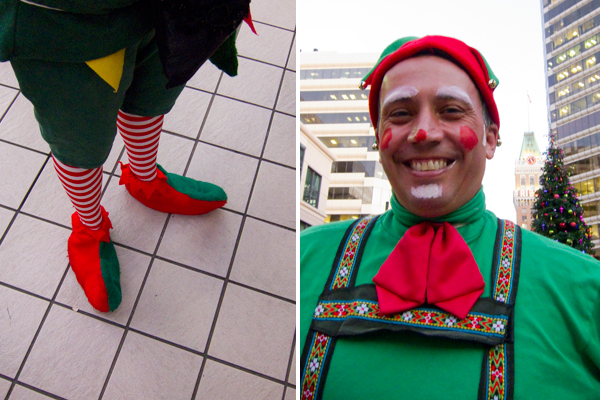city center tree lighting, christmas elf