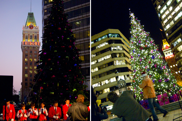 tree lighting ceremony, oakland city center, city center tree lighting
