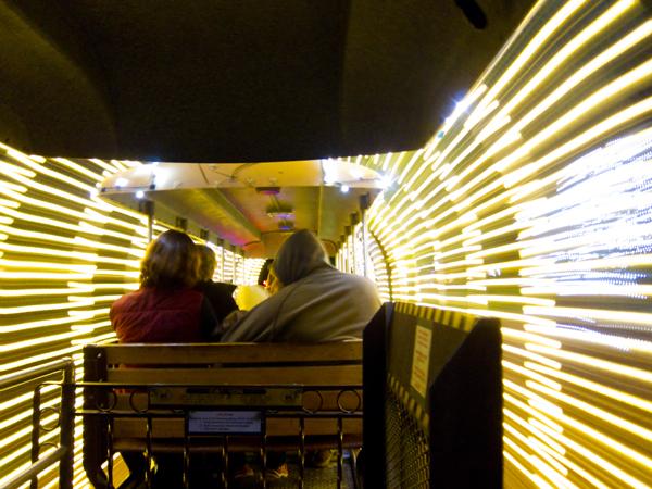 tunnel of light, oakland zoolights train
