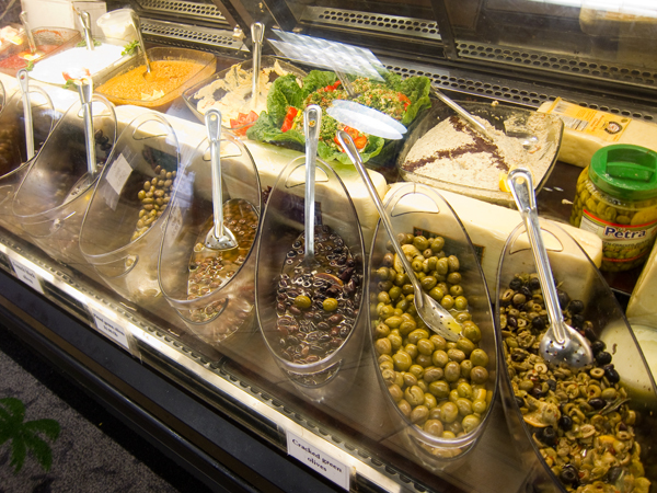olive counter, oasis food market