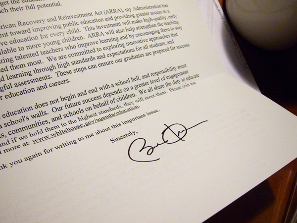 Barack Obama signature, letter from president