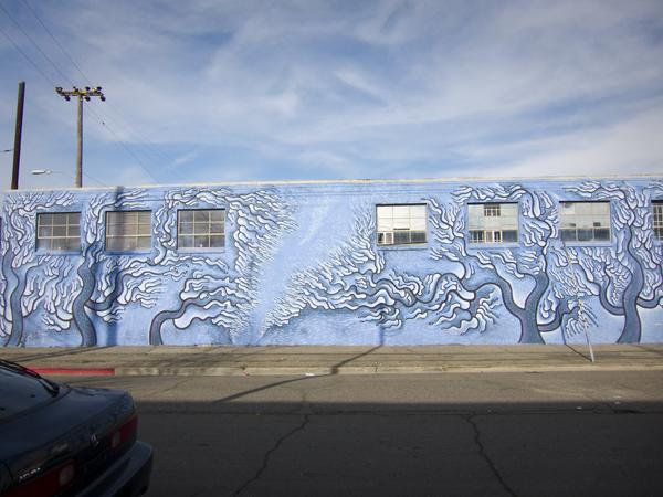 oakland mural, oakland mural art, blue trees mural, blue skies mural