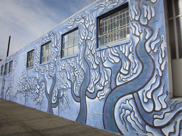 blue trees mural, oakland mural art, west oakland mural