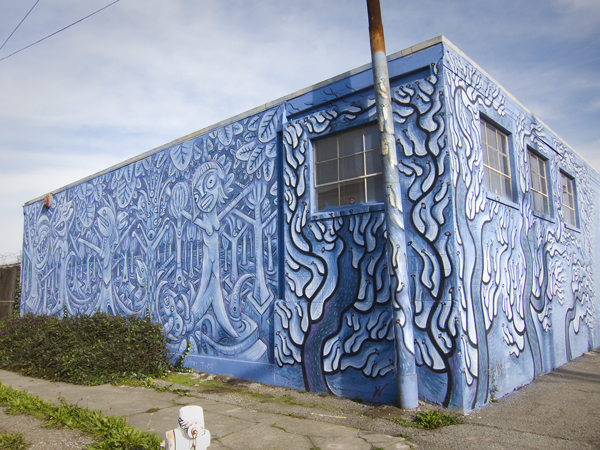 oakland mural art, west oakland mural, blue trees mural