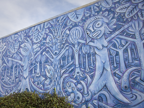 blue mural, oakland mural art, west oakland mural, blue people mural