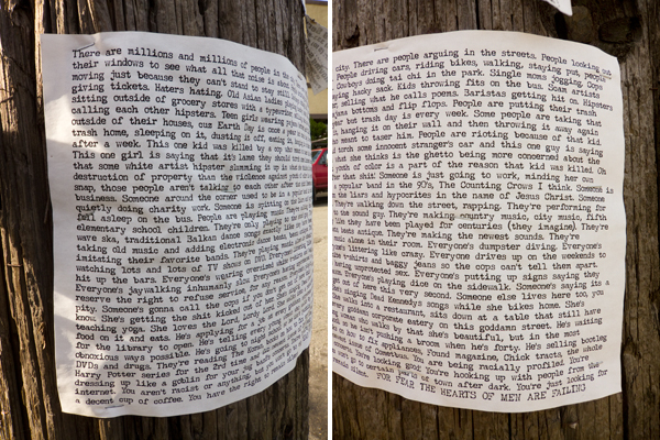 telephone pole, story on telephone pole, writing