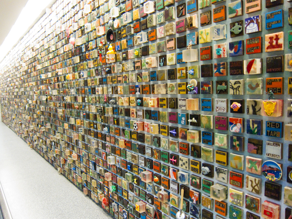 art installation at SFO, mixed media art, 3 inch tiles, 3 inch paintings