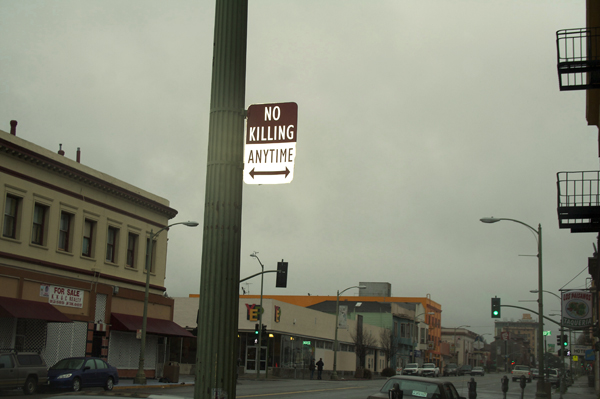 oakland graffiti, no killing signs, no killing anytime