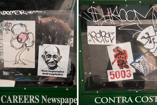 chris moon, chris moon sticker, sticker art, oakland sticker art, radioactive man sticker