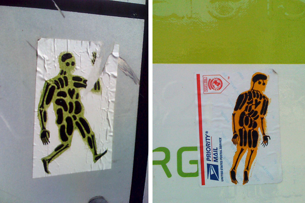 organ guy stickers, xray man stickers, x-ray man stickers, oakland sticker art