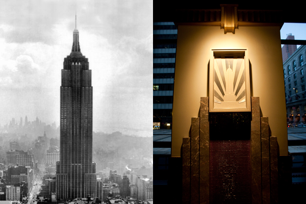 art deco architecture, empire state building, sunburst pattern, staggered pyramid