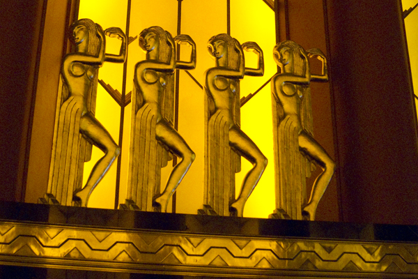 art deco sculpture, egyptian motif, paramount theatre lobby