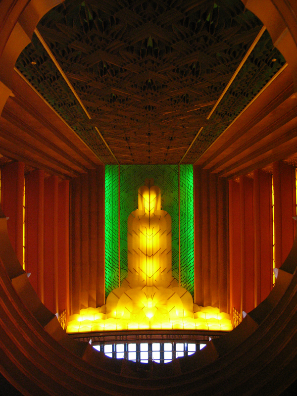 paramount theatre lobby, paramount fountain of light