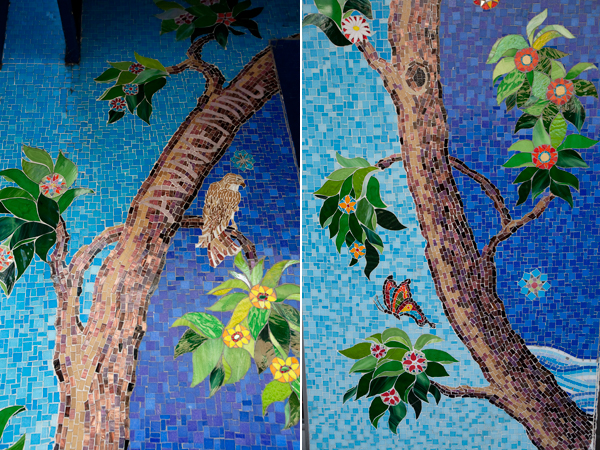 nature motif mosaic, mosaic art, tree with hawk mosaic