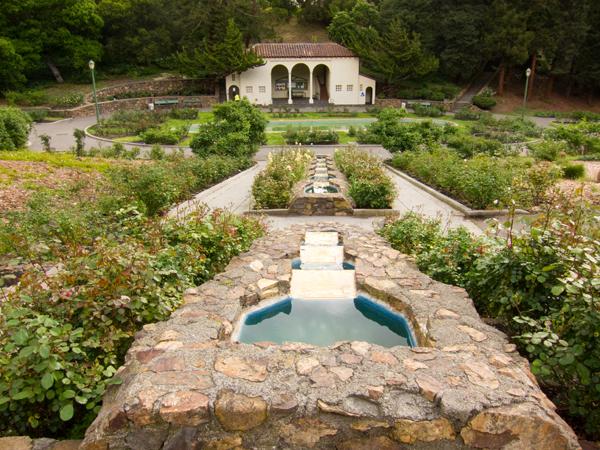 cascading fountain, rose garden cascading fountain, morcom rose garden