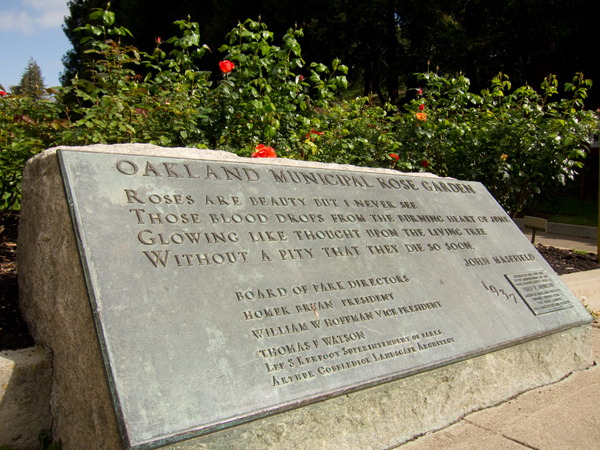 dedication plaque, morcom rose garden