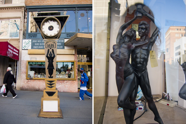 oakland street clock, art deco clock, lamp with naked figures, sexy lamp