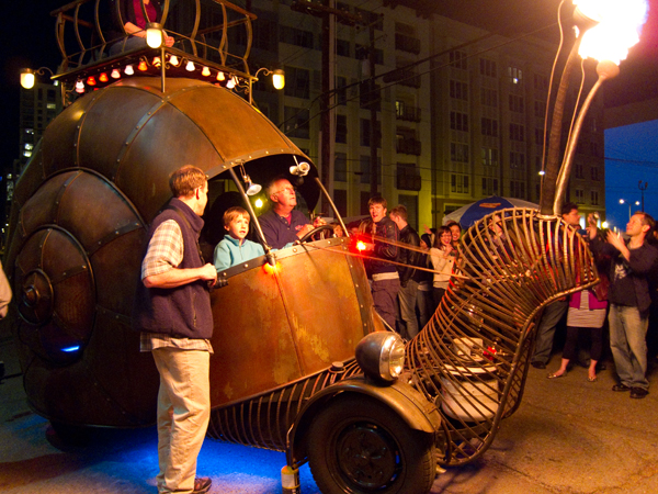 art car, burning man car, snail car