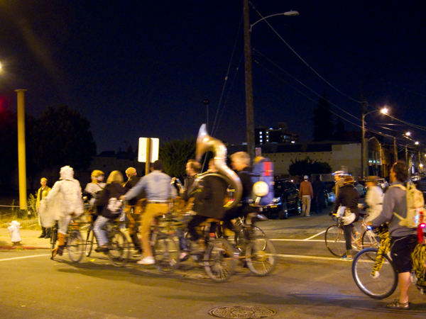 bike parade first friday, marching band on bikes