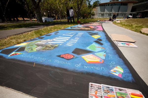 mills college, walk of honor, sidewalk mural honoring women