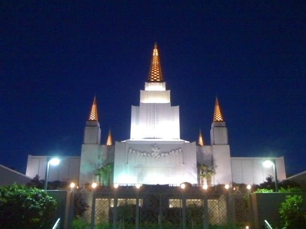 oakland mormon temple, glowing spaceship on hill