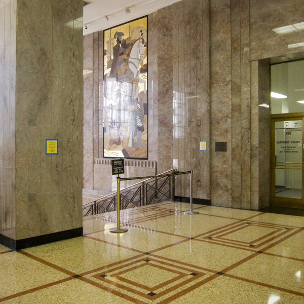 marble mosaic murals, terrazo floors, alameda county courthouse