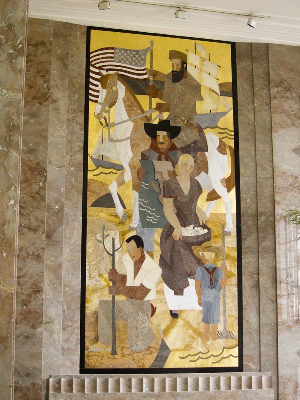 marble mosaic murals, WPA murals, courthouse murals, marian simpson marble murals