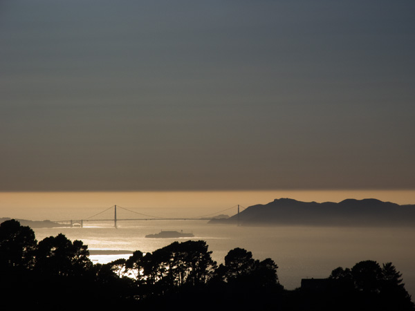summer san franciso bay sunset, golden gate bridge,