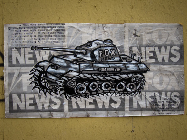 military tank wheatpaste, war machine wheatpaste