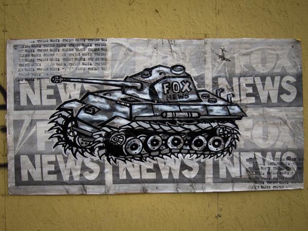 military tank wheatpaste, war machine wheatpaste