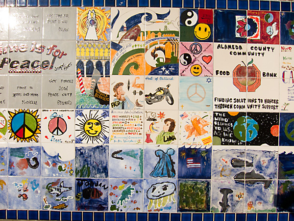 Jack London Square, peace wall, hand painted tiles