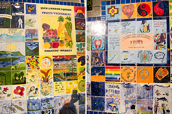 tiles painted by children, hand painted tiles, oakland peace mural