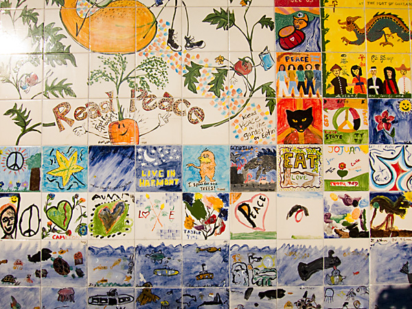barnes & noble, tile peace wall, peace wall mural of tiles