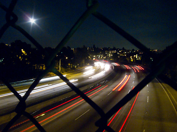 View over 580, 580 freeway, walkway over 580, full moon