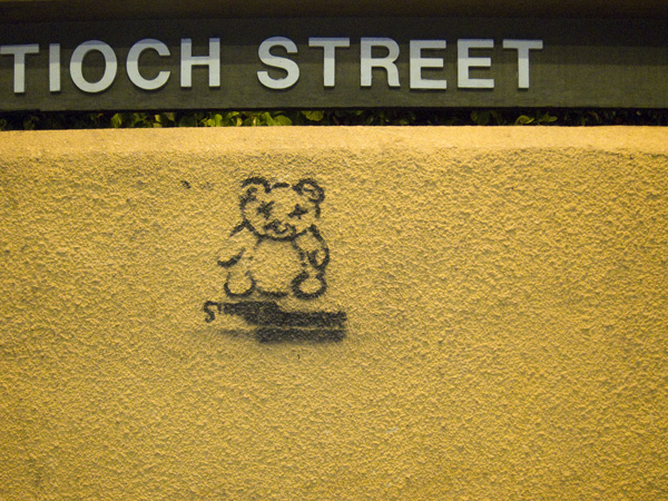 montclair village stencil, graffiti teddy  bear