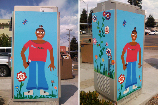 public art traffic boxes, paintings on traffic signal boxes, temescal telegraph