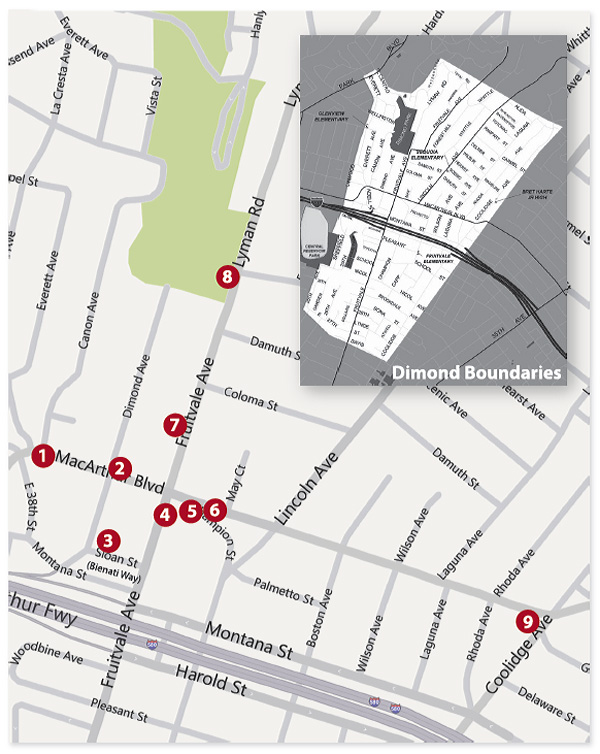 dimond public art, dimond district map