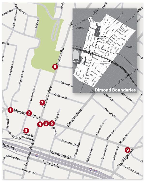 dimond public art, dimond district map