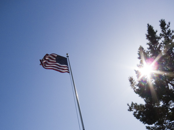 jack london square, flag at jack london, american flag photograph