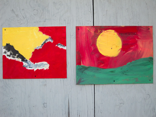 abstract primary paintings, abstract landscape paintings, oakland guerilla art