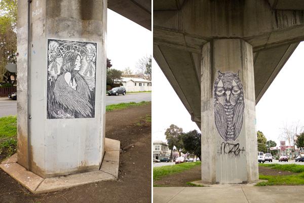 oakland graffiti wheatpaste, owl wheatpaste, burl wheatpaste