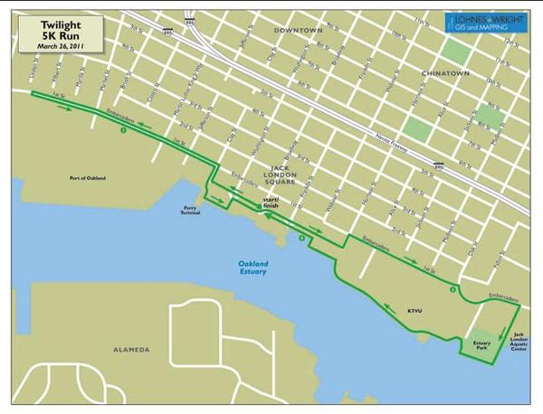 oakand running festival, 2011 5k route