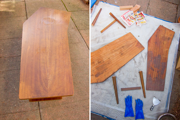 stripping varnish, mid-century coffee table