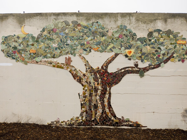 mosaic institute mural, oakland tree mural, hand painted tile mural