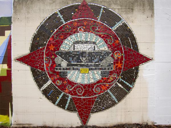 vintage car mosaic, mosaic institute, jingletown murals, oakland murals