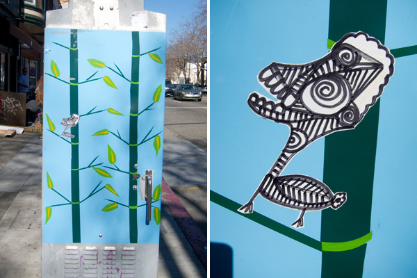 creature stickers on temescal traffic boxes
