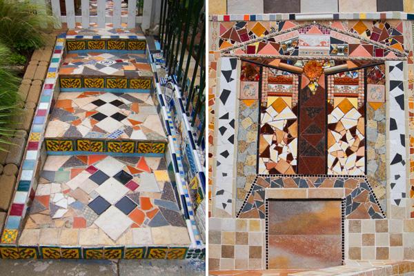 mosaic tiles stairs, mosaic exterior wall
